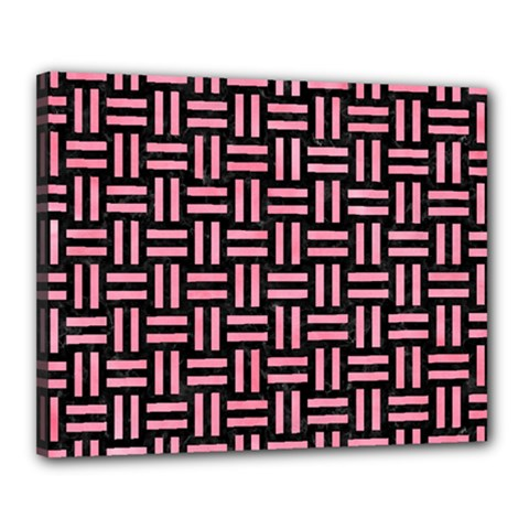Woven1 Black Marble & Pink Watercolor (r) Canvas 20  X 16  by trendistuff