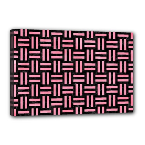 Woven1 Black Marble & Pink Watercolor (r) Canvas 18  X 12  by trendistuff