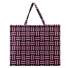 Woven1 Black Marble & Pink Watercolor (r) Zipper Large Tote Bag by trendistuff