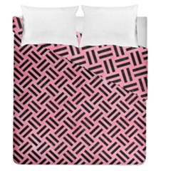 Woven2 Black Marble & Pink Watercolor Duvet Cover Double Side (queen Size) by trendistuff