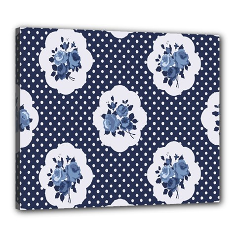 Shabby Chic Navy Blue Canvas 24  X 20  by 8fugoso