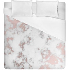 Pure And Beautiful White Marple And Rose Gold, Beautiful ,white Marple, Rose Gold,elegnat,chic,modern,decorative, Duvet Cover (king Size) by 8fugoso