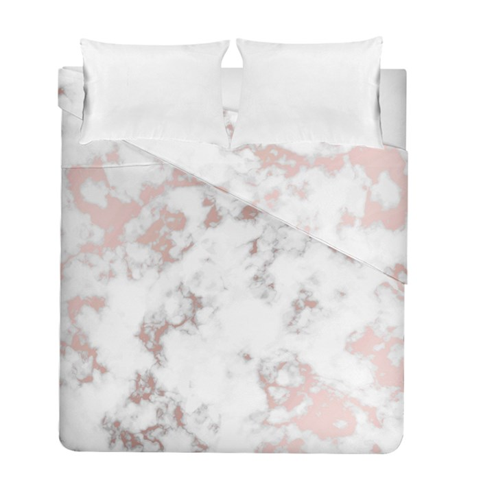 pure and beautiful white marple and rose gold, beautiful ,white marple, rose gold,elegnat,chic,modern,decorative, Duvet Cover Double Side (Full/ Double Size)
