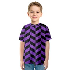 Chevron1 Black Marble & Purple Brushed Metal Kids  Sport Mesh Tee by trendistuff