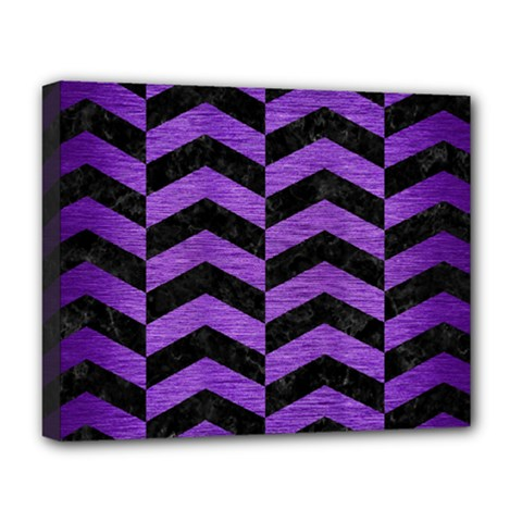 Chevron2 Black Marble & Purple Brushed Metal Deluxe Canvas 20  X 16   by trendistuff