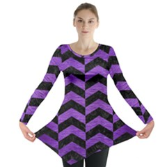Chevron2 Black Marble & Purple Brushed Metal Long Sleeve Tunic  by trendistuff