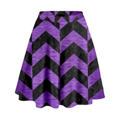 Chevron2 Black Marble & Purple Brushed Metal High Waist Skirt by trendistuff