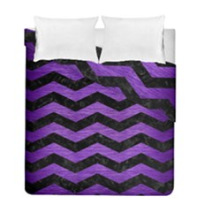 Chevron3 Black Marble & Purple Brushed Metal Duvet Cover Double Side (full/ Double Size) by trendistuff