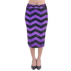 Chevron3 Black Marble & Purple Brushed Metal Velvet Midi Pencil Skirt by trendistuff