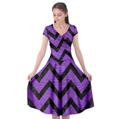 Chevron9 Black Marble & Purple Brushed Metal Cap Sleeve Wrap Front Dress by trendistuff