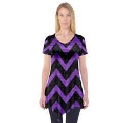 Chevron9 Black Marble & Purple Brushed Metal (r) Short Sleeve Tunic