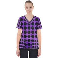 Circles1 Black Marble & Purple Brushed Metal Scrub Top