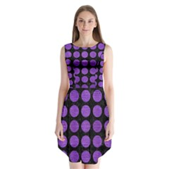 Circles1 Black Marble & Purple Brushed Metal (r) Sleeveless Chiffon Dress