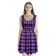 Circles1 Black Marble & Purple Brushed Metal (r) Split Back Mini Dress  by trendistuff