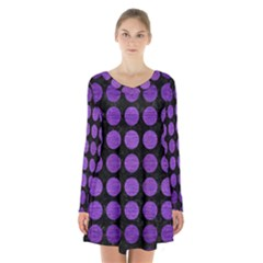 Circles1 Black Marble & Purple Brushed Metal (r) Long Sleeve Velvet V Neck Dress by trendistuff