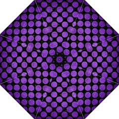 Circles2 Black Marble & Purple Brushed Metal (r) Golf Umbrellas by trendistuff