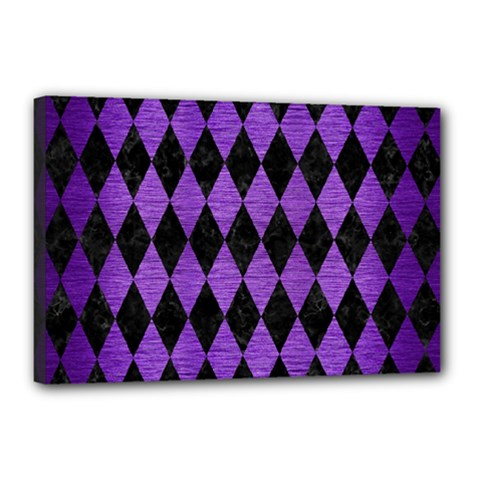 Diamond1 Black Marble & Purple Brushed Metal Canvas 18  X 12  by trendistuff