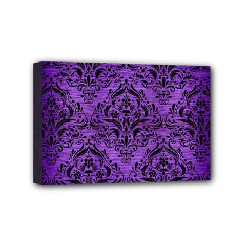 Damask1 Black Marble & Purple Brushed Metal Mini Canvas 6  X 4  by trendistuff
