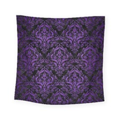 Damask1 Black Marble & Purple Brushed Metal (r) Square Tapestry (small) by trendistuff