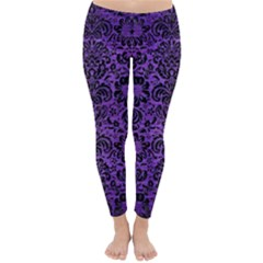 Damask2 Black Marble & Purple Brushed Metal Classic Winter Leggings by trendistuff