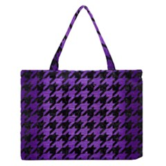 Houndstooth1 Black Marble & Purple Brushed Metal Zipper Medium Tote Bag by trendistuff
