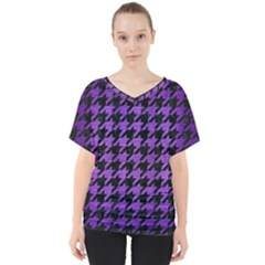 Houndstooth1 Black Marble & Purple Brushed Metal V Neck Dolman Drape Top by trendistuff