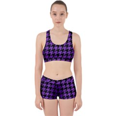 Houndstooth1 Black Marble & Purple Brushed Metal Work It Out Sports Bra Set by trendistuff