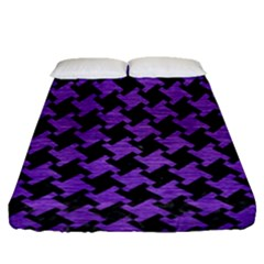 Houndstooth2 Black Marble & Purple Brushed Metal Fitted Sheet (queen Size) by trendistuff