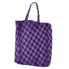 Houndstooth2 Black Marble & Purple Brushed Metal Giant Grocery Zipper Tote by trendistuff