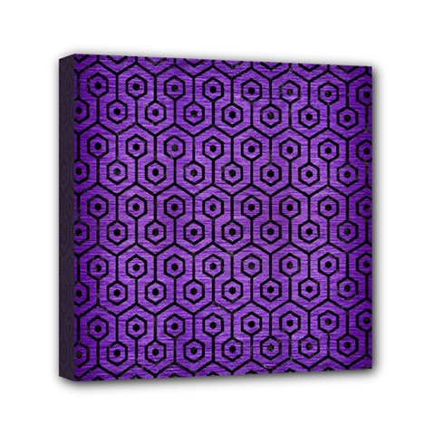 Hexagon1 Black Marble & Purple Brushed Metal Mini Canvas 6  X 6  by trendistuff