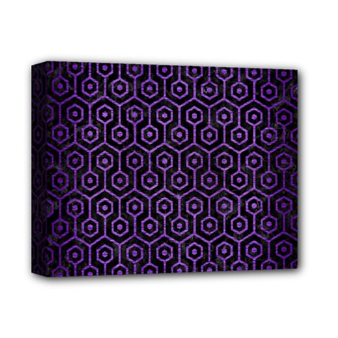 Hexagon1 Black Marble & Purple Brushed Metal (r) Deluxe Canvas 14  X 11  by trendistuff