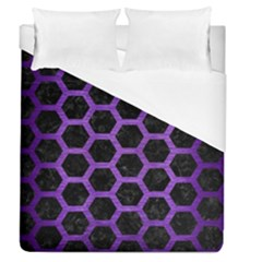 Hexagon2 Black Marble & Purple Brushed Metal (r) Duvet Cover (queen Size) by trendistuff
