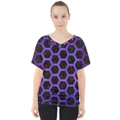 Hexagon2 Black Marble & Purple Brushed Metal (r) V Neck Dolman Drape Top by trendistuff