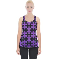 Puzzle1 Black Marble & Purple Brushed Metal Piece Up Tank Top by trendistuff