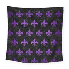 Royal1 Black Marble & Purple Brushed Metal Square Tapestry (large) by trendistuff