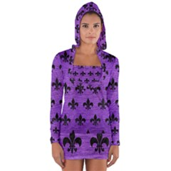 Royal1 Black Marble & Purple Brushed Metal (r) Long Sleeve Hooded T Shirt