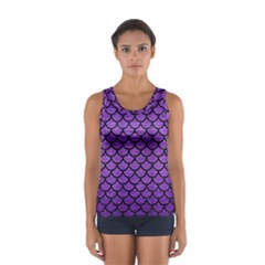 Scales1 Black Marble & Purple Brushed Metal Sport Tank Top  by trendistuff