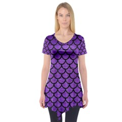 Scales1 Black Marble & Purple Brushed Metal Short Sleeve Tunic  by trendistuff