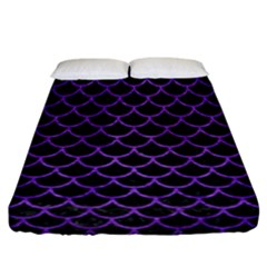 Scales1 Black Marble & Purple Brushed Metal (r) Fitted Sheet (california King Size) by trendistuff