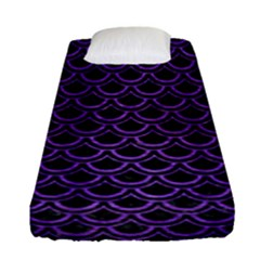 Scales2 Black Marble & Purple Brushed Metal (r) Fitted Sheet (single Size) by trendistuff