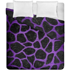 Skin1 Black Marble & Purple Brushed Metal Duvet Cover Double Side (california King Size) by trendistuff