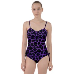 Skin1 Black Marble & Purple Brushed Metal Sweetheart Tankini Set