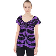 Skin2 Black Marble & Purple Brushed Metal (r) Lace Front Dolly Top by trendistuff