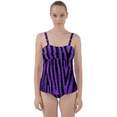 Skin4 Black Marble & Purple Brushed Metal (r) Twist Front Tankini Set
