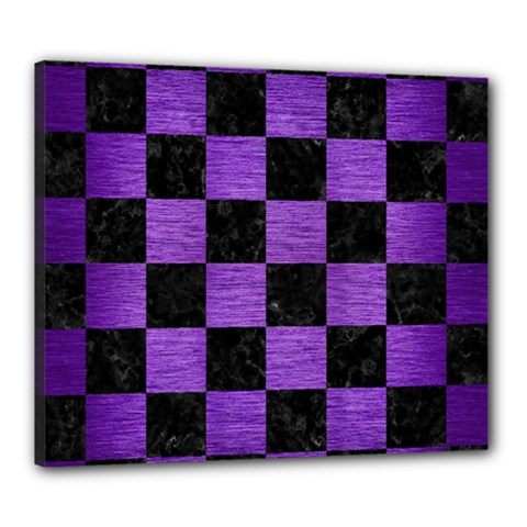 Square1 Black Marble & Purple Brushed Metal Canvas 24  X 20  by trendistuff