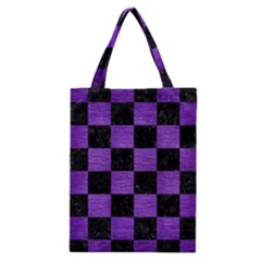 Square1 Black Marble & Purple Brushed Metal Classic Tote Bag by trendistuff
