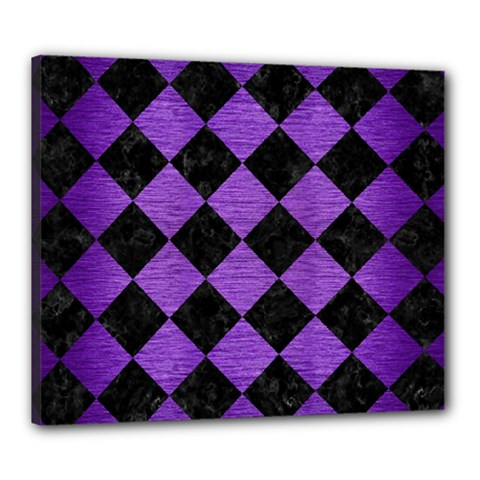 Square2 Black Marble & Purple Brushed Metal Canvas 24  X 20  by trendistuff