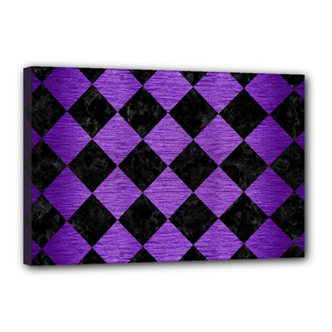 Square2 Black Marble & Purple Brushed Metal Canvas 18  X 12  by trendistuff