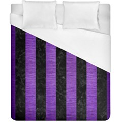 Stripes1 Black Marble & Purple Brushed Metal Duvet Cover (california King Size) by trendistuff