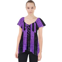 Stripes1 Black Marble & Purple Brushed Metal Lace Front Dolly Top